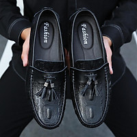 Giày lười da bò nam da bò chuẩn cao cấp, đế cao su , dập vân GD15