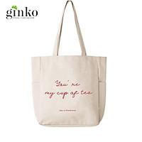 Túi Vải Tote Ginko Unisex Phong Cách Hàn Quốc In Hình YOU'RE MY CUP OF TEA K03