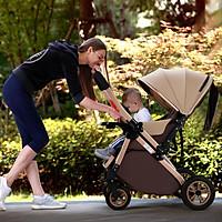 Xe đẩy trẻ em cao cấp 2 chiều 3 tư thế gấp gọn khi du lịch, kiểu dáng sang trọng, màu kem