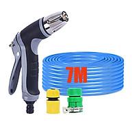 Bộ dây vòi xịt nước rửa xe, tưới cây,tăng áp 3 lần cút nhựa nối nhựa vàng loại 7-10m 206817