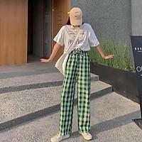 quần caro ống rộng siêu hot 2021