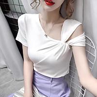 áo thun nữ xoắn vai nhiều màu điệu đà, chất zip cotton