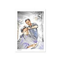 Tranh Poster Đường phố Sài Gòn | Cắt tóc vỉa hè | Soyn SG2405