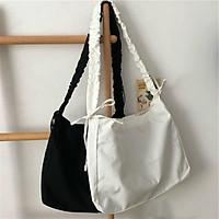 Túi tote đeo chéo dây rút có khóa & túi con - vải canvas, phong cách ULZZANG