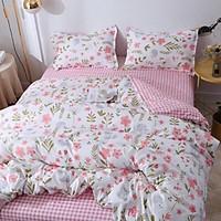 Bộ Chăn Ga gối cotton poly Emmidecor - mẫu hoa nhí hồng ga kẻ hồng