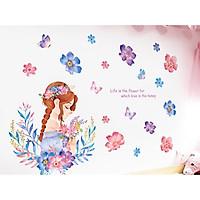 Decal dán tường cô gái hoa 10 - HP439