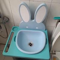 Bồn rửa mặt mini cho bé kèm van và ống sả nước , bộ tăng chiều cao 7cm