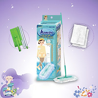 Cây Lau Nhà Đa Năng Ihomeda (1 Cán + 2 Khăn) - iHomeDa Mops for wet wipes and dry wipes ( 1 handle Free 2 long fibre dry wipes )