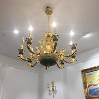 Đèn chùm treo tường DC02 tân cổ điển nhập khẩu cao cấp. Chất liệu hợp kim mạ vàng 18k & đá xanh tự nhiên (Đèn chùm trang trí)