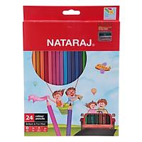 Hộp Bút Chì Dài 24 Màu NATARAJ NA-F24 + Tặng 1 Chuốt Chì