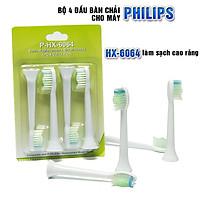 Bộ 4 đầu bàn chải đánh răng điện HX-6064 Trắng cho máy Philips Sonicare HX3, HX6, HX7, HX8, HX9, R, FlexCare +, FlexCare, HealthyWhite, HydroClean, EasyClean, DiamondClean