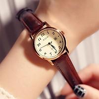 Đồng hồ nữ julius Hàn Quốc JA-508LC dây da nâu vàng có lịch ngày