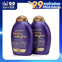 Bộ Dầu Gội Và Xả OGX Thick And Full Biotin & Collagen Của Mỹ 385ml, giảm xơ rối, gãy, rụng, cho tóc dày và suôn mượt