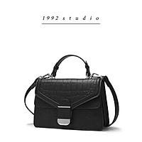 Túi xách nữ 1 9 9 2 s t u d i o/ MORIN BAG / màu đen có quai xách, 2 ngăn dây da đeo chéo