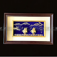 Tranh thuyền buồm hoa mai dát vàng 24k (40x65cm) MT Gold Art- Hàng chính hãng, trang trí nhà cửa, phòng làm việc, quà tặng sếp, đối tác, khách hàng, tân gia, khai trương