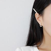 Hoa tai chữ c đính ngọc trai phong cách cổ điển dễ thương hàn quốc-HTV0009