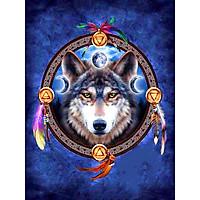 Bimkole 5D Diamond Painting Moon Wolf Dream Catcher Full Drill DIY Rhinestone Pasted with Diamond Set Arts Craft Decorations (12x16inch)