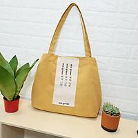 Túi tote vải canvas phối chữ eco green hàn quốc- vàng