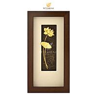 Tranh Hoa Sen dát vàng (14x28cm) MT Gold Art- Hàng chính hãng, trang trí nhà cửa, phòng làm việc, quà tặng sếp, đối tác, khách hàng, tân gia, khai trương