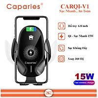 Đế Sạc Nhanh Không Dây 15W Cho Xe Hơi CAPARIES CARQi-V1 , Wireless Quick Charge, chuẩn Qi Apple cho Iphone, Samsung, Vivo, Oppo, Xioami, Huawei, Vsmart - Chính Hãng