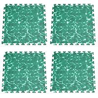 Bộ 4 tấm Thảm xốp lót sàn an toàn Thoại Tân Thành hình sóng biển xanh lá (60x60cm)