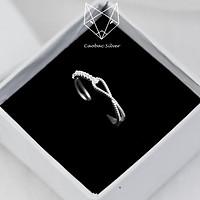 Nhẫn Bạc Nữ S99 CaoBac Silver Họa Tiết Hai Sợi Bi Lồng Độc Đáo