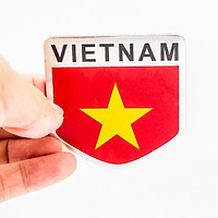 Sticker hình dán Metal Cờ Việt Nam - Miếng lẻ - Khiên 5x5cm