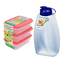 Bộ 3 hộp đựng thực phẩm tiện lợi + Tặng bình nhựa đựng nước an toàn - Hàng nội địa Nhật