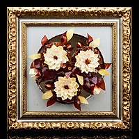 Panel with amber Flowers on glass. White