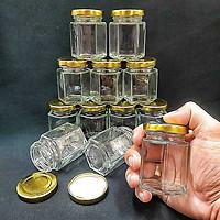 combo 10 hũ thủy tinh nhỏ mẫu lục giác 80ml nắp thiếc vàng vặn – hủ thuỷ tinh đựng mật ong, yến chưng, dầu dừa, thức uống, sữa chua, thực phẩm, hũ gia vị