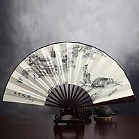 Quạt cổ trang thuyền cổ trấn nhiều núi nan 31 nam nữ cầm tay cosplay phong cách Trung Quốc tặng ảnh Vcone