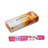 Set 50 túi ny lông bảo quản thực phẩm + Màng bọc thực phẩm kháng khuẩn 30cm x 20m Nhật Bản