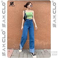 Quần bò Baggy denim Jeans nữ SAM CLO dáng suông ulzzang ống rộng lưng ôm cạp cao màu trơn CODE 3059