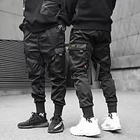 Quần jogger kaki nam túi hộp nhiều túi dây khóa gài màu đen, phong cách đường phố JNEAS
