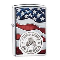 Bật Lửa Zippo 29395 American Stamp On Flag High Polish Chrome