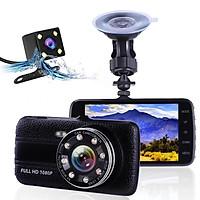 Camera hành trình ô tô Ontek T004 Full HD 1080P - Màn hình 4 inch, Hỗ trợ 8 LED ( Gồm Cam trước & Cam sau ) - Hàng nhập khẩu