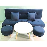 Bộ set sofa bed xanh dương đậm nhung Gvs2DvsB XDDN, sofa giường phòng khách