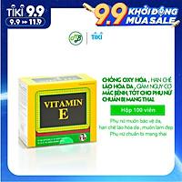 Viên uống TPCN BỔ SUNG VITAMIN E-Giúp chống Oxy hoá,hạn chế lão hoá da và làm đẹp da-hộp 100 viên