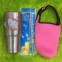 Ly giữ nhiệt Thái Lan 900ml  2 lớp inox 304_ tặng 2 ống hút inox + 1 túi xách + 1 cọ rửa ống hút _ mèo inox