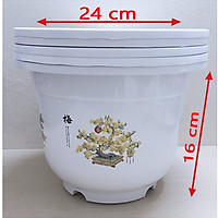 25 Cái Chậu nhựa trắng trồng cây in hoa bốn mùa xinh tươi-77481