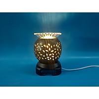Đèn xông tinh dầu gốm họa tiết mini đen