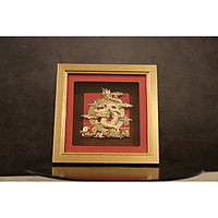 Tranh Rồng Kim Long dát vàng 24K 24x24cm