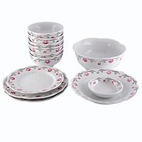 Bát đĩa -  Bộ 12 sản phẩm bát đĩa Viền sen -  Bộ bát đĩa -  Sử dụng gia đình