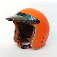 Mũ Bảo Hiểm 3/4 đầu Lót Nâu ( MÀU CAM ) - Hàng CTY - Cam Kết Chất Lượng Giống Hình 100%