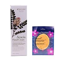 Kem dưỡng da tay thảo mộc Hàn Quốc cao cấp 3W Clinic Acacia Hand Cream (100ml) + Tặng Bông bọt biển massage mặt Hàn Quốc Aroma – Hàng Chính Hãng – Hàng Chính Hãng