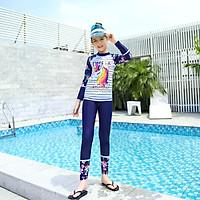 Đồ bơi cho bé gái dài tay quần dài chống nắng Kỳ lân size từ 20kg đến 50kg