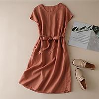 Đầm suông linen tay hến rút eo LAHstore, thời trang xuân hè 2021 - Cam đất