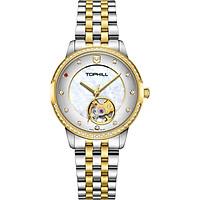 Đồng hồ nữ thời trang máy cơ lộ máy đính đá chính hãng Thụy Sĩ TOPHILL TE035L.M6238