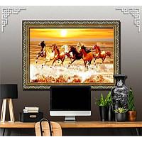 Bức tranh ngựa treo tường bát mã - MÃ ĐÁO THÀNH CÔNG chất liệu in vải lụa hoặc giấy ảnh bóng gương Mã số:L8F-00401611L8