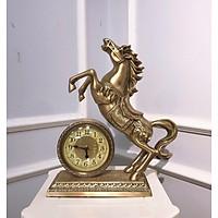 Đồng hồ  để bàn Chất Liệu đồng mặt kính cao cấp - Đồng hồ để bàn cổ điển đẹp sang trọng kích thước 39 x 33 x 12 cm để kệ tủ trang trí phòng khách nhà ở.